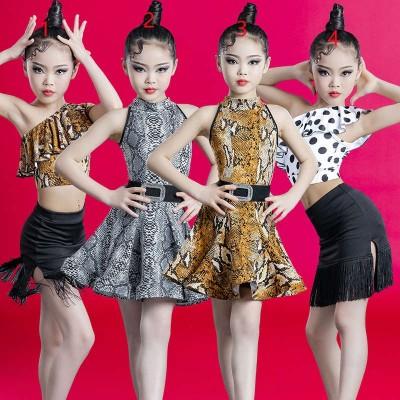 Children's Girls Serpentine polka dot latin dance dress with fringe Children ballroom salsa chacha Latin Dance Competition clothes for kids