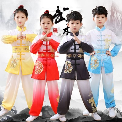 Children's martial arts  Wushu competition performance clothing blue red black gradient color Gymnastics practice uniforms chinese kung fu training clothes