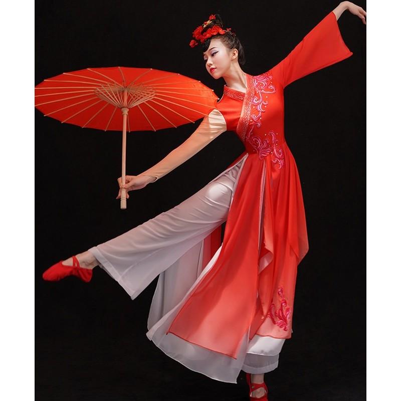 Chinese Classical dance costumes Female Chinese ancient style fairy princess solo dance  wear Art test modern dance costume fan yangko dance dress