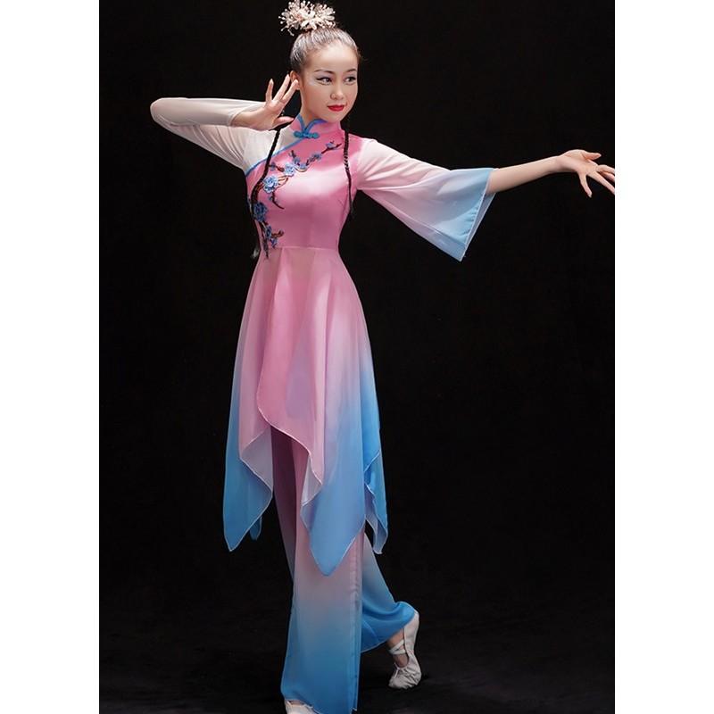 Chinese Classical folk dance costume female hanfu Chinese Yangko dance costume Jiangnan solo fan dance modern dance suit