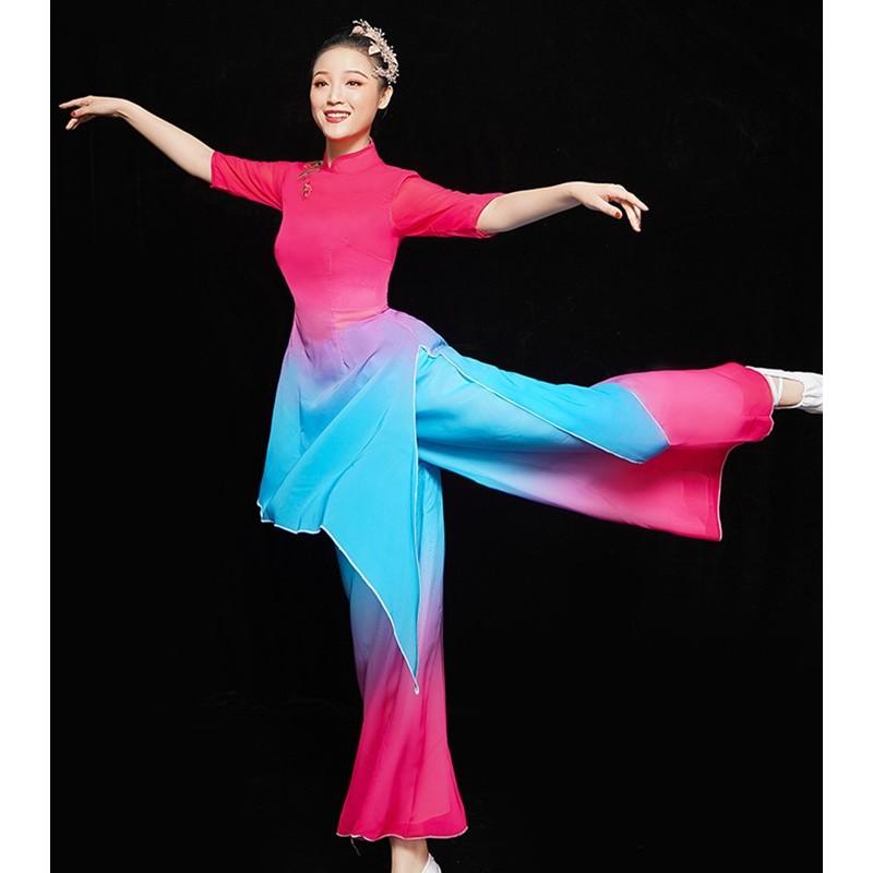 Chinese Classical folk dance costume female pink with blue Chinese style solo dance modern fan umbrella dance yangko costume ethnic dance costume