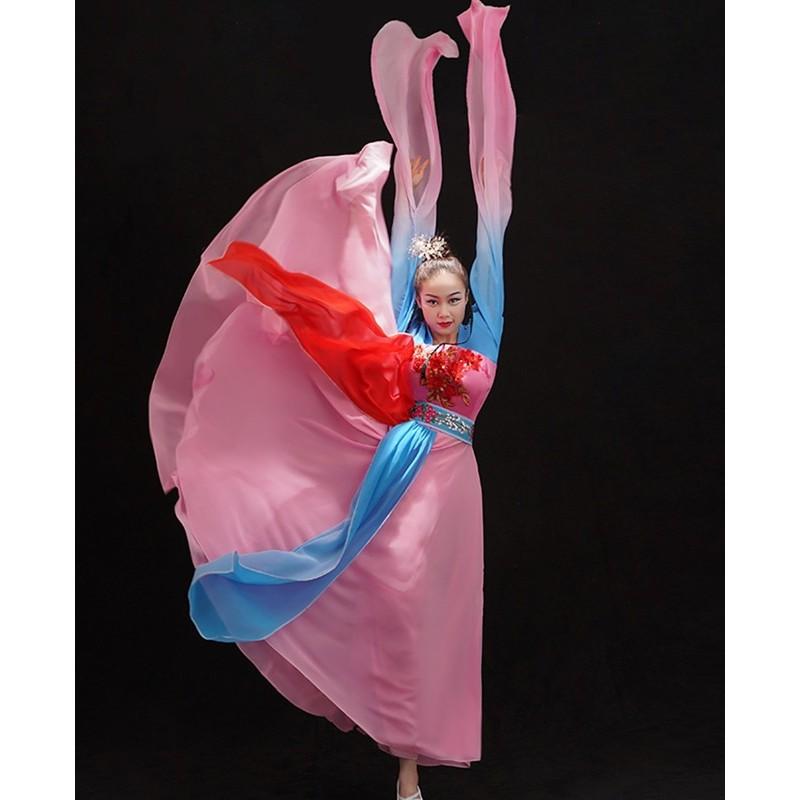 Chinese folk Classical dance costumes Female Plucking Dance Costume Hanfu Chinese waterfall Sleeve Thrilling classical Dance fairy dresses