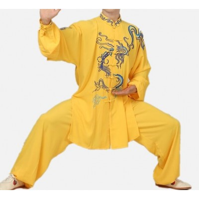 Chinese gold dragon pattern Tai chi kung fu clothing for unisex competition stage performance martial art wushu clothes tai ji quan suit