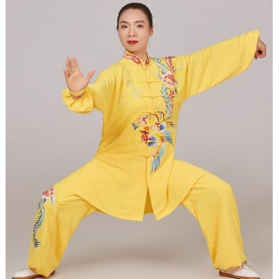 Chinese kung fu Tai Chi clothing for women gold phoenix embroidered pattern wushu stage performance clothes martial arts competition qigong suit