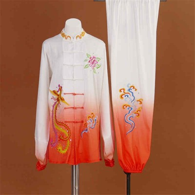 Competition martial art clothing for women Taijiquan white orange gradient embroidery Phoenix professional Taijiquan wushu taichi performance suit