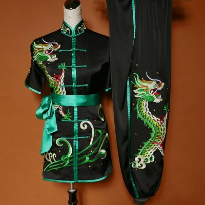 Custom size black with green Martial art Wushu competition Stage performance for adult kids taichi chinese dragon kungfu uniforms for women men