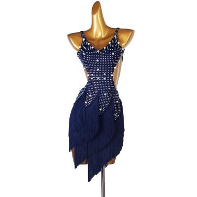 Custom size navy fringe diamond competition latin dance dresses for women girls rumba salsa chacha dance dress stage performance latin costumes