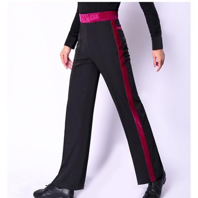 Customized size Ballroom Latin Dance pants for men boy professional competition side with fuchsia velvet ribboon flamenco waltz tango dance trousers