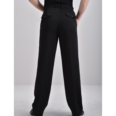 Customized size Black Ballroom Latin Dance Pants for men yong man competition tango waltz flamenco long trousers