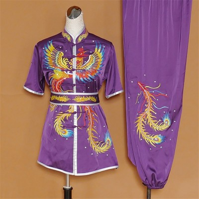 female martial arts competition performance clothing embroidery Phoenix taichi wushu chinese kungfu Nanquan competition costume