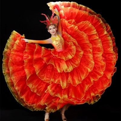 Flamenco Dance dress for women pink green red petals paso double sapnish bull dance dress big swing skirt opening dance chorus ballroom dance dress