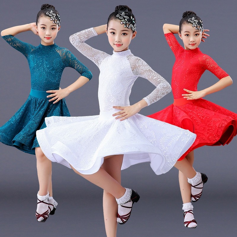 girls latin dance dress competition white red blue lace latin dresses for children girls competition ballroom skirt tango salsa dancewear practice wear