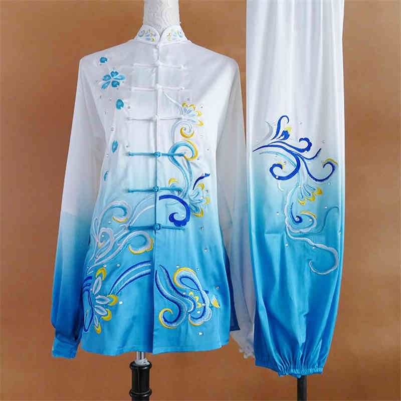 Gradient embroidery Tai Chi Martial art performance clothing for men and women Tai Chi wushu stage performance competition suit