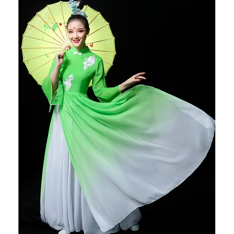 Green color hanfu Chinese folk Classical dance costume chorus performance wear female traditional yangko Fan dance umbrella dance fairy dresses