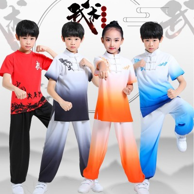 Kids Boys Chinese Kung Fu Wushu stage performance clothing blue black red gradient martial art practice competition uniforms for boys girls
