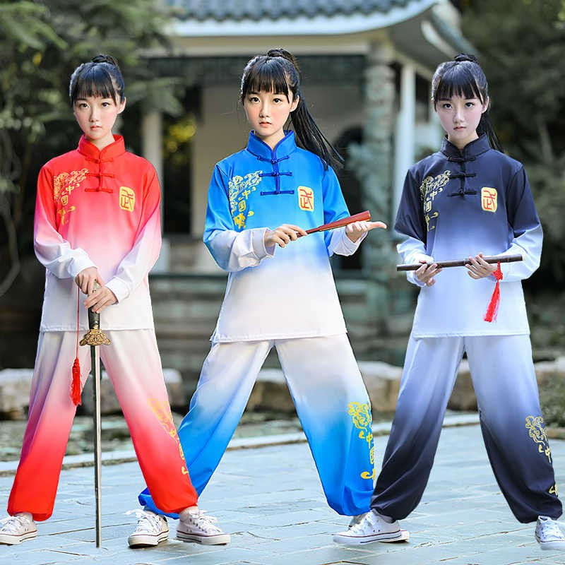 Kids children Chinese kung fu tai chi clothing for boys girls red blue black color martial art stage performance wu shu uniforms for kids