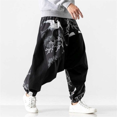 Kung fu pants loose large size drop crotch patchwork chinese style hip hop street dance pants trend men's fashion casual pants