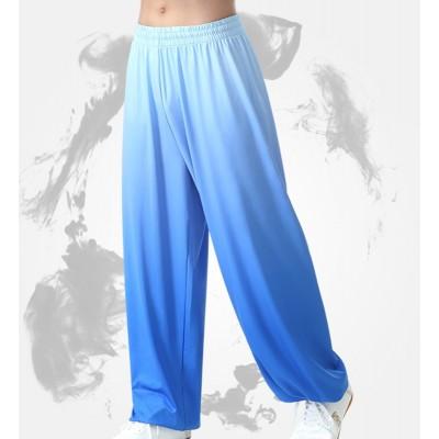 Kung Fu Pants women Tai Chi Pants blue pink purple Gradient Color Loose wushu Performance trousers Lantern Pants Men's Martial Arts Training Pants