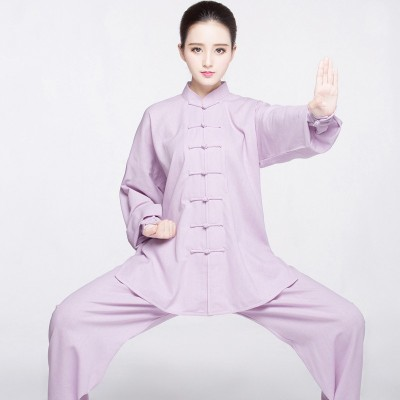 Light purple blue Tai chi Clothes for women and men linen martial art uniforms wushu tai ji quan stage performance clothing chinese kung fu morning fitness clothes