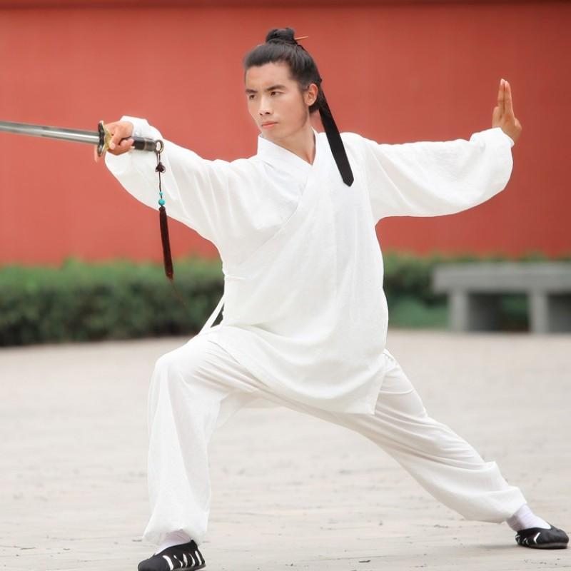 Men's Chinese tai chi clothing Wudang Tai Chi Clothes Linen Practicing Tai Chi quan Oblique Collar Tao Robe Martial Arts Kung Fu morning exercise outfit