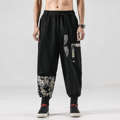 Men's kung fu pants linen cotton  tai chi practice casual pants embroidery overalls bloomers male hip-hop retro style Tang suit