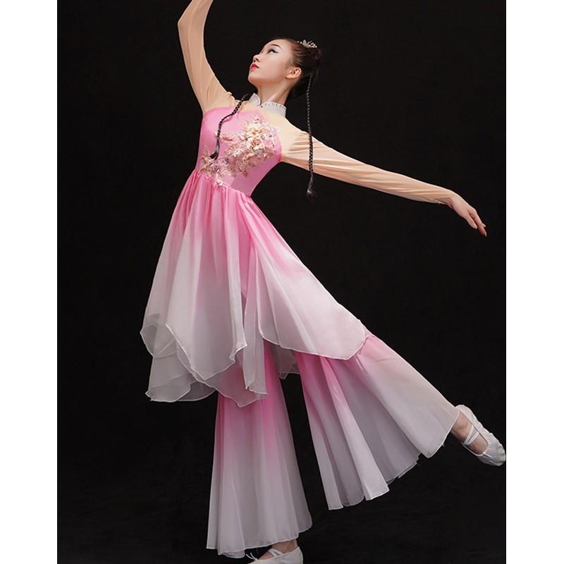 Pink gradient chinese Classical dance clothes female fan umbrella dance performance dresses Yangko dance costumes Modern solo dance wear