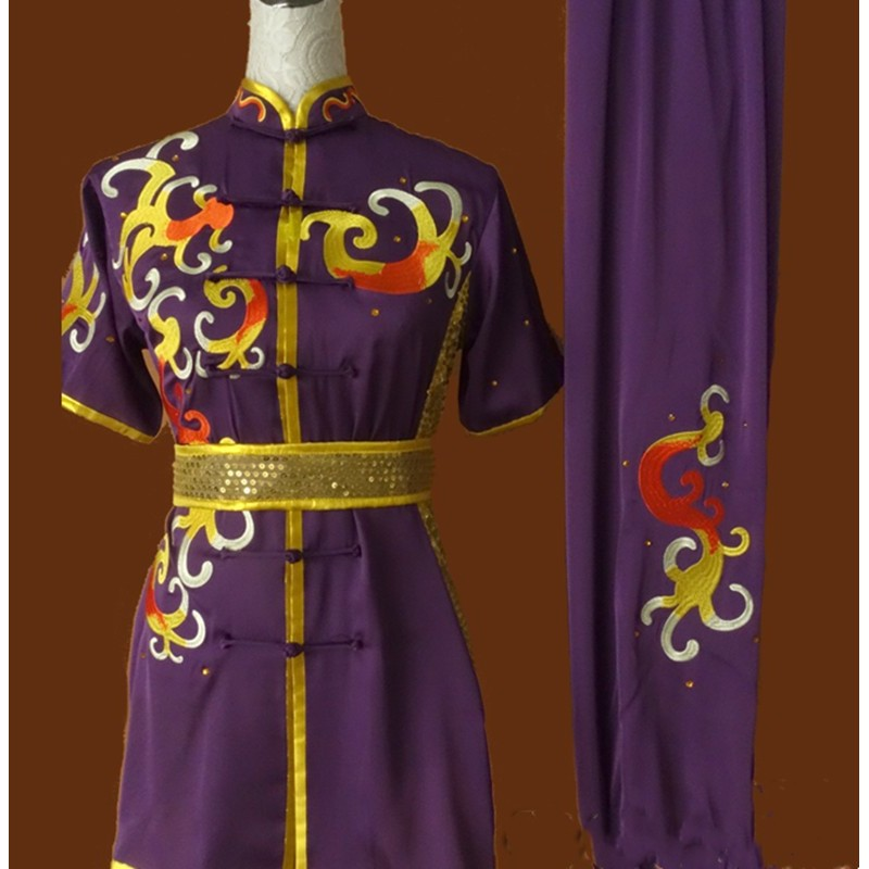Purple embroidery martial arts competition suits for men women long boxing suits Nanquan tai chi kungfu team performance suits