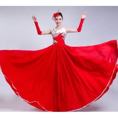 Red Flamenco dress female opening dance big swing Spanish Bullfighting dance costume Opening dance Chorus costumes stage dancer costumes