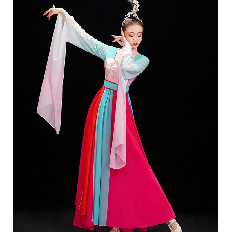 Water Sleeve chinese folk dance costume female Chinese fairy dresses modern dance plucking classical traditional dance costume adult