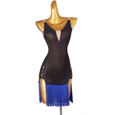Women girls black with royal blue fringe competition latin dance dresses solo reheasal stage performance rumba salsa chacha dance dress for female
