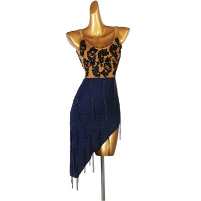 Women navy colored with navy rhinestones competition tassels latin dance dresses modern irregular skirt ballroom rumba chacha dance dress