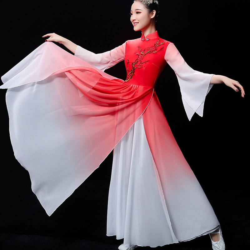Women red gradient chinese folk dance dresses fairy princess dress chinese ancient traditional yangko fan umbrella dance costumes for lady