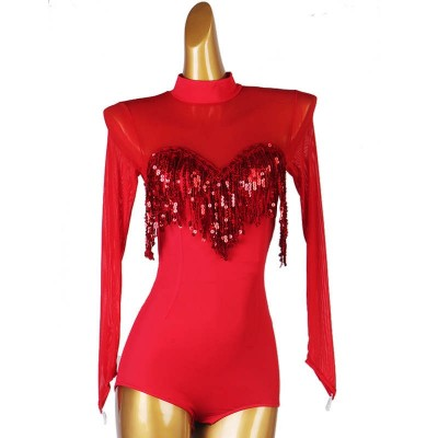 Women red sequined tassels competition ballroom latin dance bodysuits for female long sleeves flamenco waltz tango dancing jumpsuits