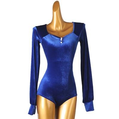 Women royal blue black velvet ballroom latin dance bodysuits modern tango waltz dance body tops jumpsuits for woman