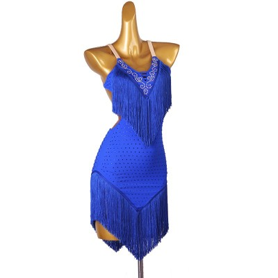 Women young girls black royal blue tassels competition latin dance dresses modern rumba salsa chacha latin dance costumes for female