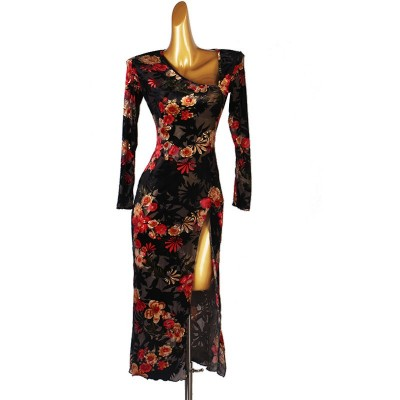 Women's black with red floral velvet competition latin dance dresses high slit professional rumba salsa chacha dance dresses for lady